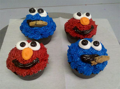 Elmo Cookie Monster Cup Cakes